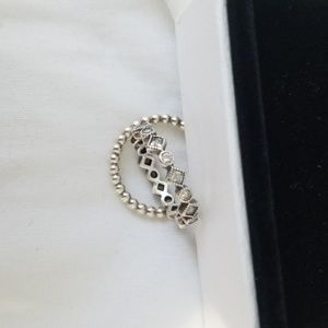 Authentic set of 2 Pandora Silver Stacking Rings